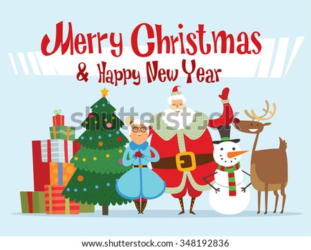 Santa Claus, Missis Claus, elf kids, helpers, family vector illustration. Christmas cartoon people. Christmas traditional costume. Santa Claus helpers isolated on background. Santa Claus family - stock vector