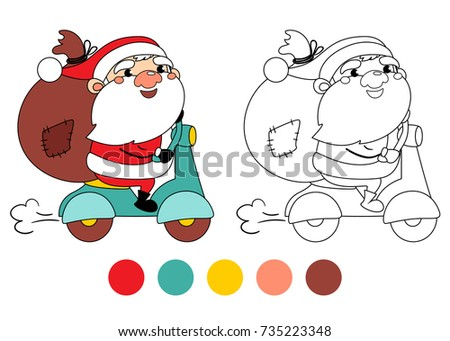 Santa Claus On A Motorcycle With Gifts In Bag Coloring Book Page Cartoon