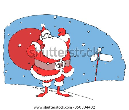 Santa Claus on North Pole. Vector illustration.