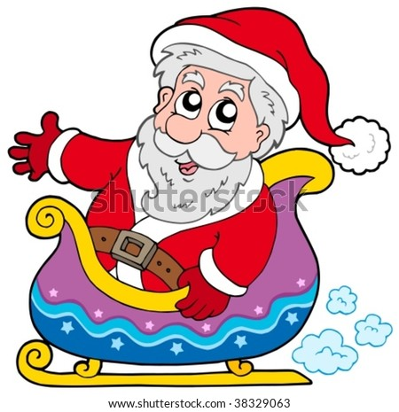 Santa Claus on sledge - vector illustration.