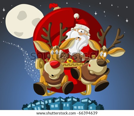 Santa-Claus on sleigh with reindeer - stock vector