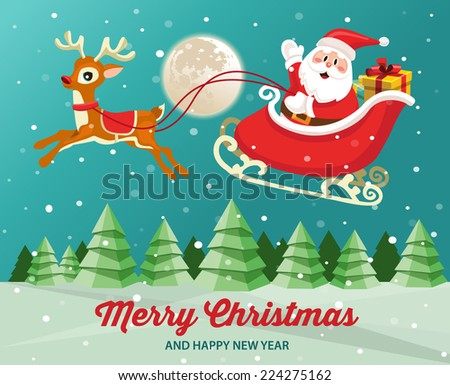 Santa Claus on sleigh with reindeer in snowy Christmas night landscape - stock vector