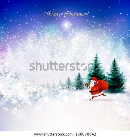 Santa Claus on the Winter landscape  - stock vector