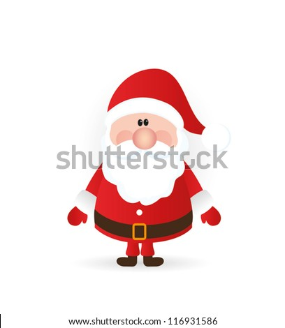 Santa claus on white background. Vector illustration for retro christmas card.