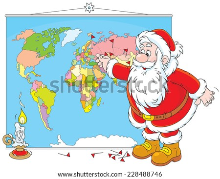 Santa Claus planning his route for delivery of Christmas gifts - stock vector