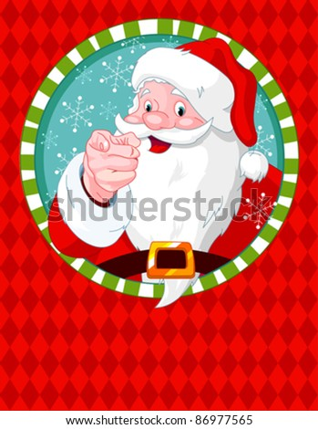 Santa Claus pointing. Greeting card - stock vector