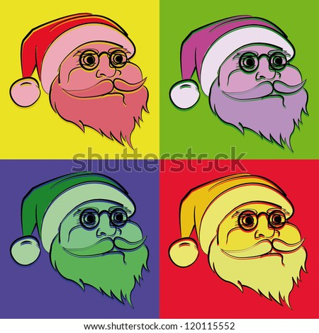 Santa Claus Pop Art Illustration - stock vector