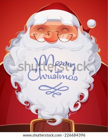 Santa Claus portrait. Christmas card \ poster \ banner. Vector illustration. - stock vector