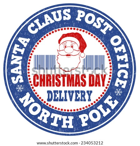 Santa Claus post office grunge rubber stamp on white background, vector illustration - stock vector