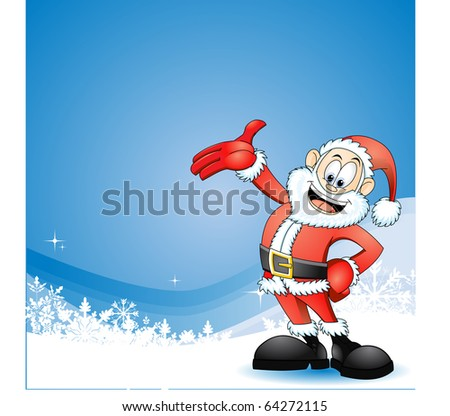 Santa Claus Presenting Cute illustration of Santa Claus on snowflake abstract background. - stock vector