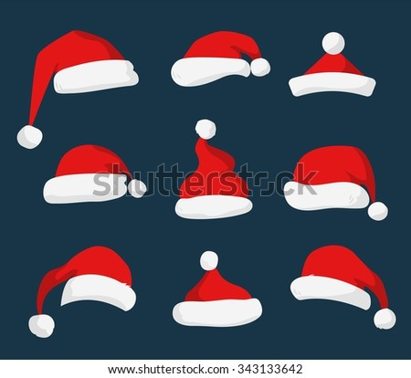 Santa Claus red hat silhouette. Santa hat, Santa red hat isolated on background. Santa hat. New Year 2016 santa red hat . Santa head hat vector. Santa Christmas hat decoration. Santa face hat vector - stock vector