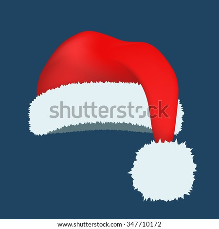 Santa Claus red hat silhouette. Santa hat, Santa red hat isolated on white. Santa hat. New Year 2016 santa red hat . Santa head hat vector. Santa Christmas hat decoration. Santa face hat vector icons - stock vector