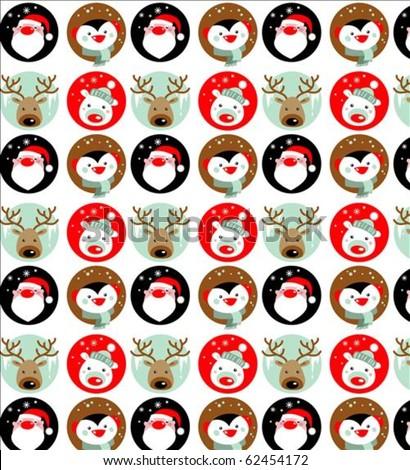 Santa Claus, Reindeer, polar bear and penguin wallpaper - stock vector