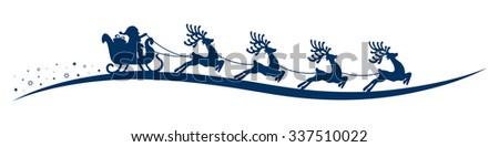 santa claus reindeer sleigh isolated background - stock vector