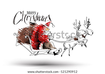 Santa Claus rides reindeer sleigh flying in the white background