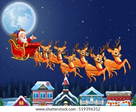santa claus riding his reindeer sleigh flying over town - Santa Claus And Reindeers