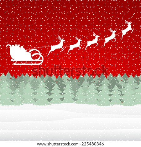 Santa Claus riding on a reindeer in the Christmas forest  - stock vector
