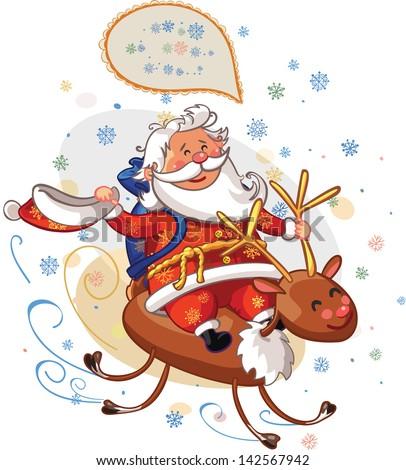 Santa Claus riding on deer Rudolph - stock vector