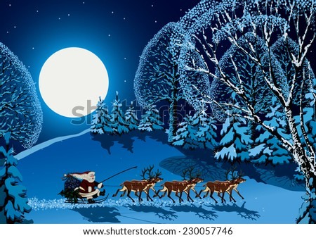 Santa Claus riding on reindeer sleigh through forest in Christmas time - stock vector