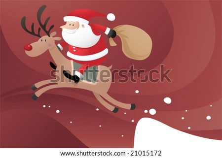 Santa Claus riding Reindeer jumping from the snow - stock vector