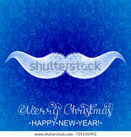 Santa Claus's mustaches on dark blue background