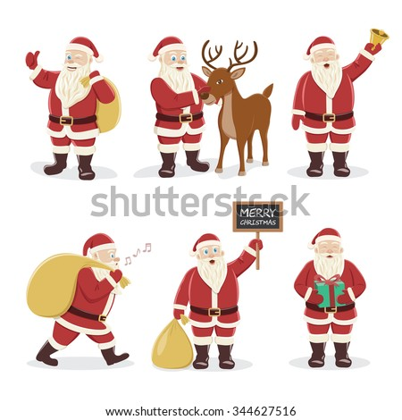 Santa Claus Set. Character design. Vector Illustration.