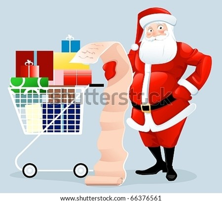 Santa Claus shopping with letter - stock vector