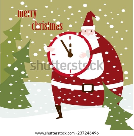 Santa Claus shows the clock  illustration - stock vector
