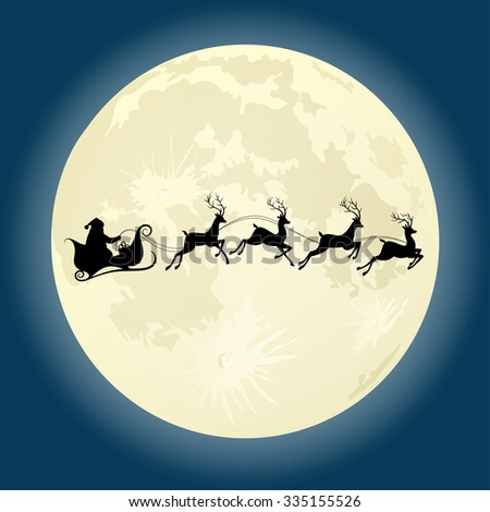 Santa Claus silhouette riding deer in front of moon. Vector illustration - stock vector