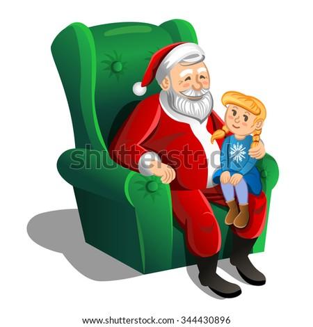 Santa Claus sitting in armchair with little girl. Vector Christmas Scene - stock vector