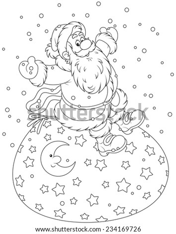 Santa Claus sitting on his bag of holiday presents - stock vector