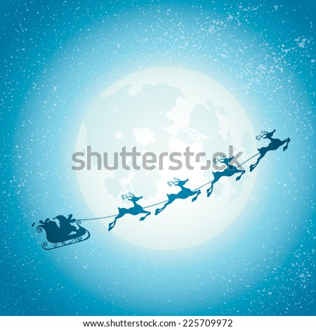 Santa Claus Sleigh - stock vector