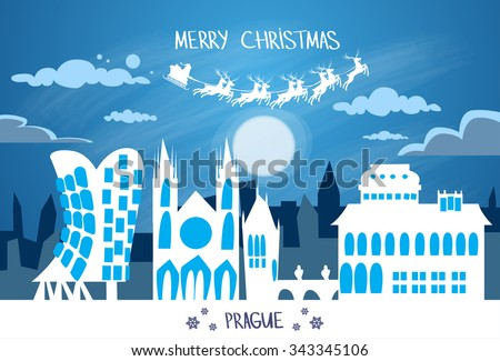 Santa Claus Sleigh Reindeer Fly Czech Sky over Prague City Silhouette Night Cityscape Snow Skyline Christmas New Year Card Vector Illustration - stock vector