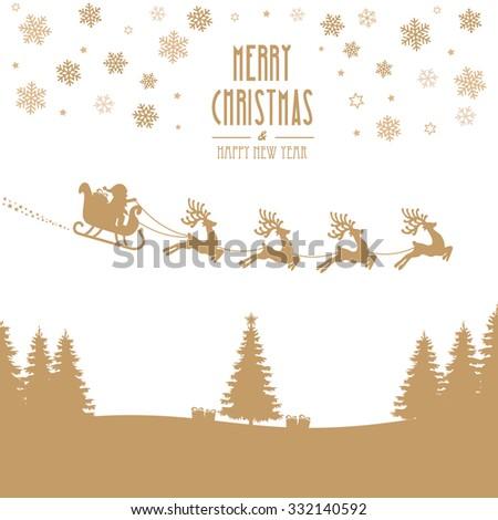 santa claus sleigh reindeer gold silhouette - stock vector