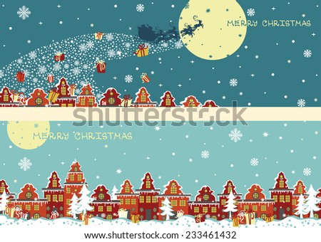 Santa Claus sleigh with reindeer fly over the city and throws gifts on the background of the moon . New year,Christmas Greeting card,invitation,background. Horizontal banner set - stock vector