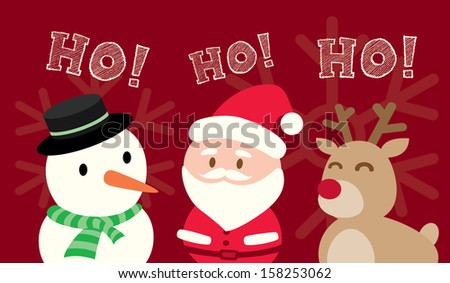 Santa Claus Snowman Reindeer Christmas Cartoon on red background - stock vector
