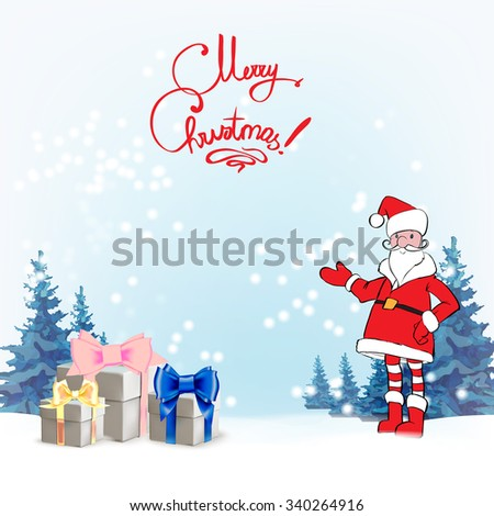 Santa Claus. Template greeting card Father Christmas hand points for a gift, sign your text isolated vector . - stock vector