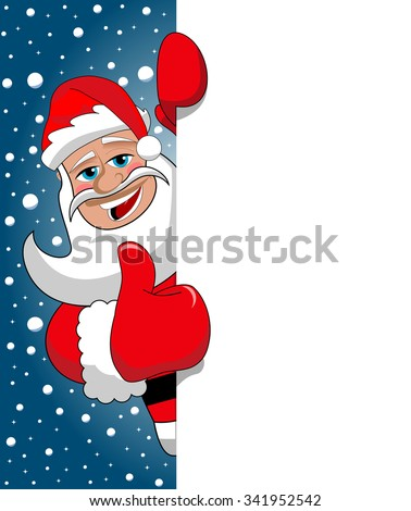 Santa Claus Thumb Up behind blank white billboard sign against blue starry snowing sky - stock vector