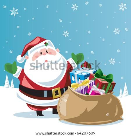 Santa Claus & toy bag - stock vector