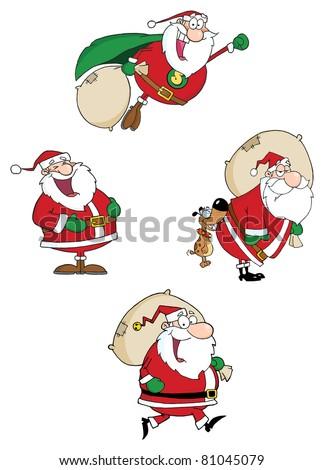 Santa Claus Waving A Greeting.Vector Collection - stock vector