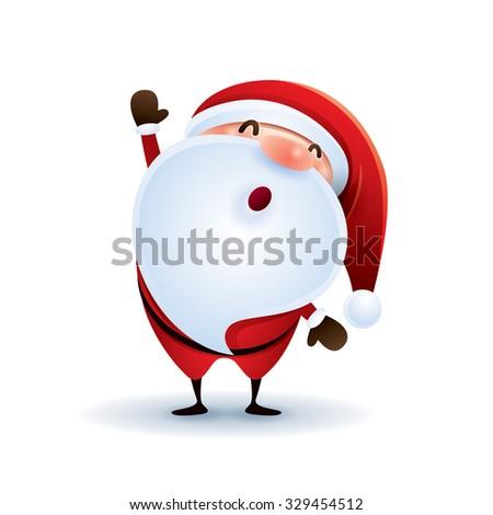 Santa Claus waving hand. - stock vector