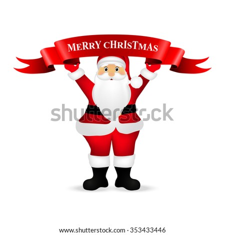 Santa Claus wishes everyone a Merry Christmas - stock vector