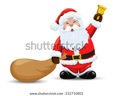 Santa Claus with a bag and  bell. Vector - stock vector