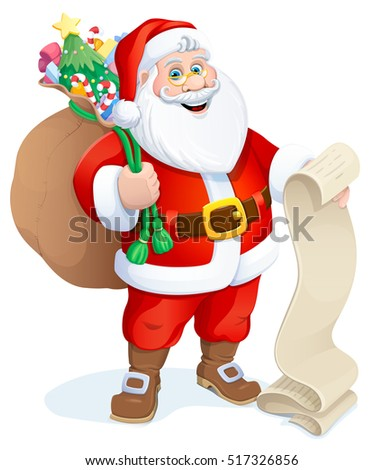 Santa Claus with a bag of gifts. Christmas. Vector illustration.