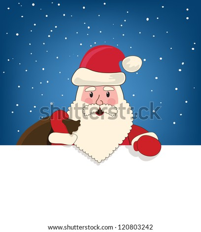 Santa Claus with a bag of gifts, happy New Year - stock vector