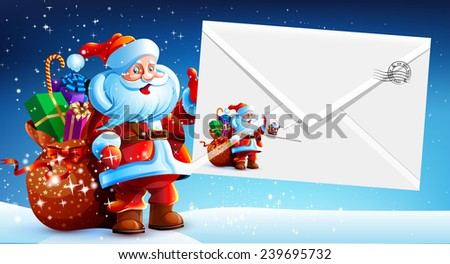 Santa Claus with a bag of gifts holding an envelope with a letter of congratulations and a postage stamp. Happy New Year. Merry Christmas. Vector. Icon. - stock vector