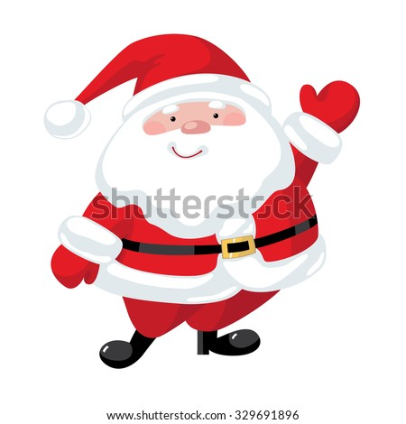 Santa Claus with a raised right hand. Cartoon character - stock vector