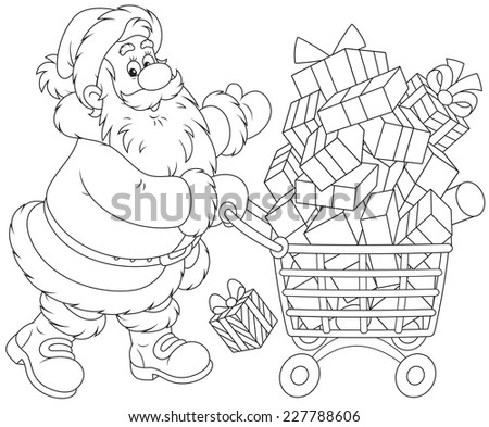 Santa Claus with a shopping cart of Christmas gifts - stock vector