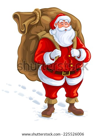 Santa Claus with big sack of gifts. Eps10 vector illustration. Isolated on white background - stock vector