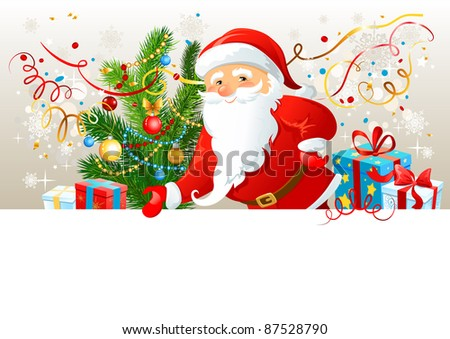 Santa Claus with blank board. - stock vector